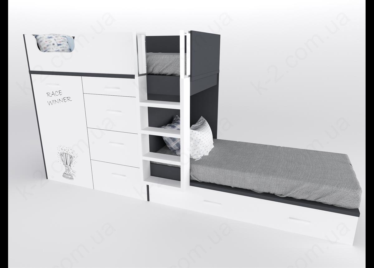 52 Кровать двухъярусная с лестницей 90х200 серия Dakar К-2 стандарт