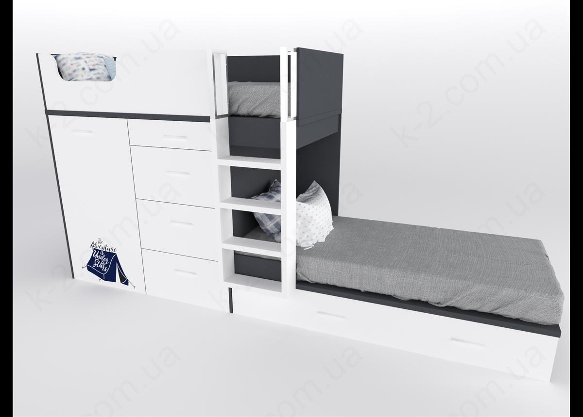 52 Кровать двухъярусная с лестницей 90х200 серия Dakar К-2 люкс