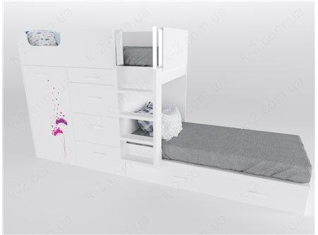 52 Кровать двухъярусная с лестницей 90х200 серия Voyage К-2 стандарт